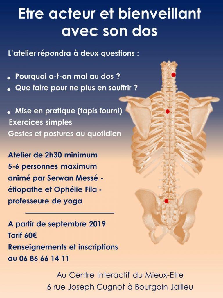 Apprendre à soulager le mal de dos grâce aux ateliers proposés par Serwan Messé, etiopathe à Bourgoin-Jallieu